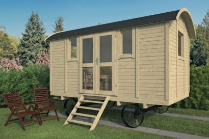 Log Cabin Gypsy Caravan With Side Door Tuindeco 40x0179 P01
