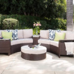 Bray Outdoor Patio Furniture Wicker 8 Piece Semicircular Sectional Sofa Seating