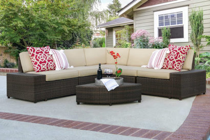 Swords 6 Piece Wicker Sectional Sofa Patio Furniture Set